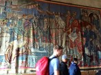 Designed by Axel Revold and woven by Ulrikke Greve, this tapestry depicts King Harald Hardråde (Harald the Ruthless), who founded Oslo in 1049.