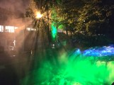 Colorful spotlights highlight the Akerselva's many waterfalls.