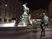 """The Four Rivers Fountain in the center of the Neuer Markt shows Lady Providence surrounded by six frolicking naked folks representing the rivers that flow into the Danube. Empress Maria Theresa found the statues to be too provocative, so she organized """"Chastity Commissions"""" to protect the moral fortitude of her city."""