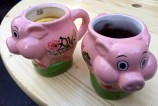 Just like in Germany, the punsch came in adorable little cups, the cutest of which were New Year's piggies that symbolize good luck.