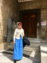 Apparently my pants were too tight to meet the dress code. (Thanks to all that fabulous Turkish food!) So the staff lent me a skirt. Not all the mosques we entered were this strict. Doing a bit of research on the topic, I learned that the Quran encourages modesty but does not define it as wearing a robe, headscarf, or face covering. Different branches of Islam interpret modesty in different ways. Christianity is much the same; some conservative sects believe that scriptures indicate women must wear long skirts, long hair, and caps, and cannot wear makeup or shave their legs.