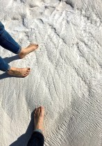 UNESCO protocol requires that people remove their shoes to prevent destruction of the formation. The hardened calcium feel a bit like sandpaper. Guess I won't be needing another pedicure anytime soon.