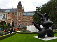 Jumping out of the 17th century for a minute, the Rijksmuseum also currently has a fabulous outdoor display of modernist sculptures by Joan Miró. (I love the juxtaposition of the almost primitive, free-form Lunar Bird against the rather rigid and sophisticated museum exterior. The gardens here are a great place to recoup after immersing yourself in dark Dutch Masterworks.