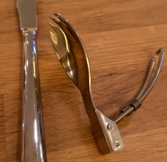 A Swiss Army version of a spork punctuated the picnic feel of the meal.