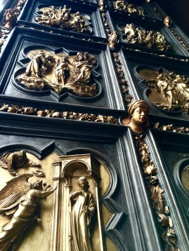 As I mentioned earlier, in 1401, another of Florence's merchant guilds held a competition for the Baptistery's north doors. The guild couldn't decide between Lorenzo Ghiberti and his rival Filippo Brunelleschi, so both were originally awarded the commission. In a fit of pique, however, Brunelleschi stomped off to continue his studies in Rome, leaving Ghiberti to spend the next 21 years completing the project. All of Ghiberti's doors now reside in the Bargello Museum; those on the Baptistery are copies.