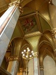Check out this gold-plated stairwell. Okay, so we break from tradition a bit here -- only 88 pounds (40 kgs) of gold (not 96) were used to gild the ornate ceilings of Parliament.