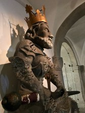 And here's the creepy 12th-century Romanesque statue of Charlemagne, which once sat outside the church. (A copy claims the original location now.)