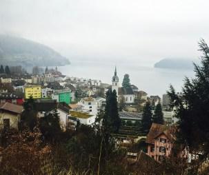 The town of Vitznau looks incredibly cozy beneath its fuzzy grey blanket of fog.