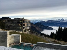 """The little town of Rigi Kaltbad (""""Rigi Cold Bath"""") sits halfway down the mountain. Folks can watch the sun set from natural mineral springs that are channeled into heated pools."""