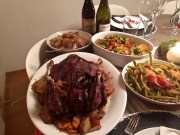 Roasted duck with cherry sauce, roasted root veggies in duck fat, balsamic-braised Brussel sprouts, and Italian-style green beans for those who aren't fond of Brussel sprouts.