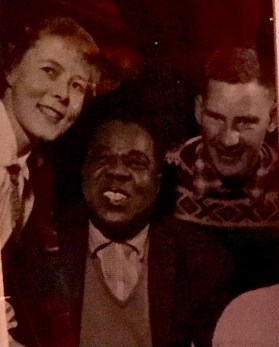 Pictured are Gerd, Satchmo, and Gerd's husband, Reidar Otto Ullevålseter.