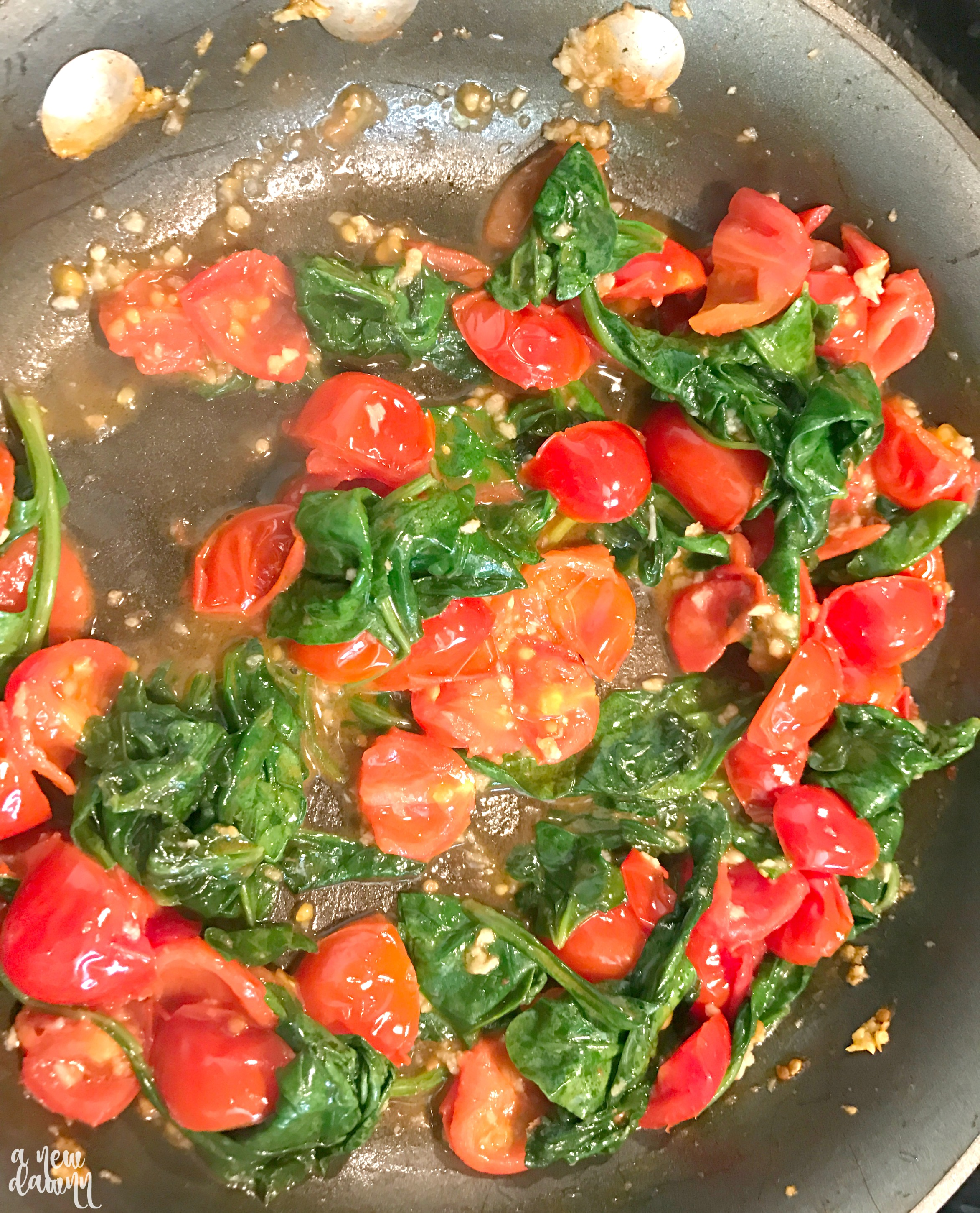 Easy Seafood Dinner - Tilapia with Spinach & Tomatoes