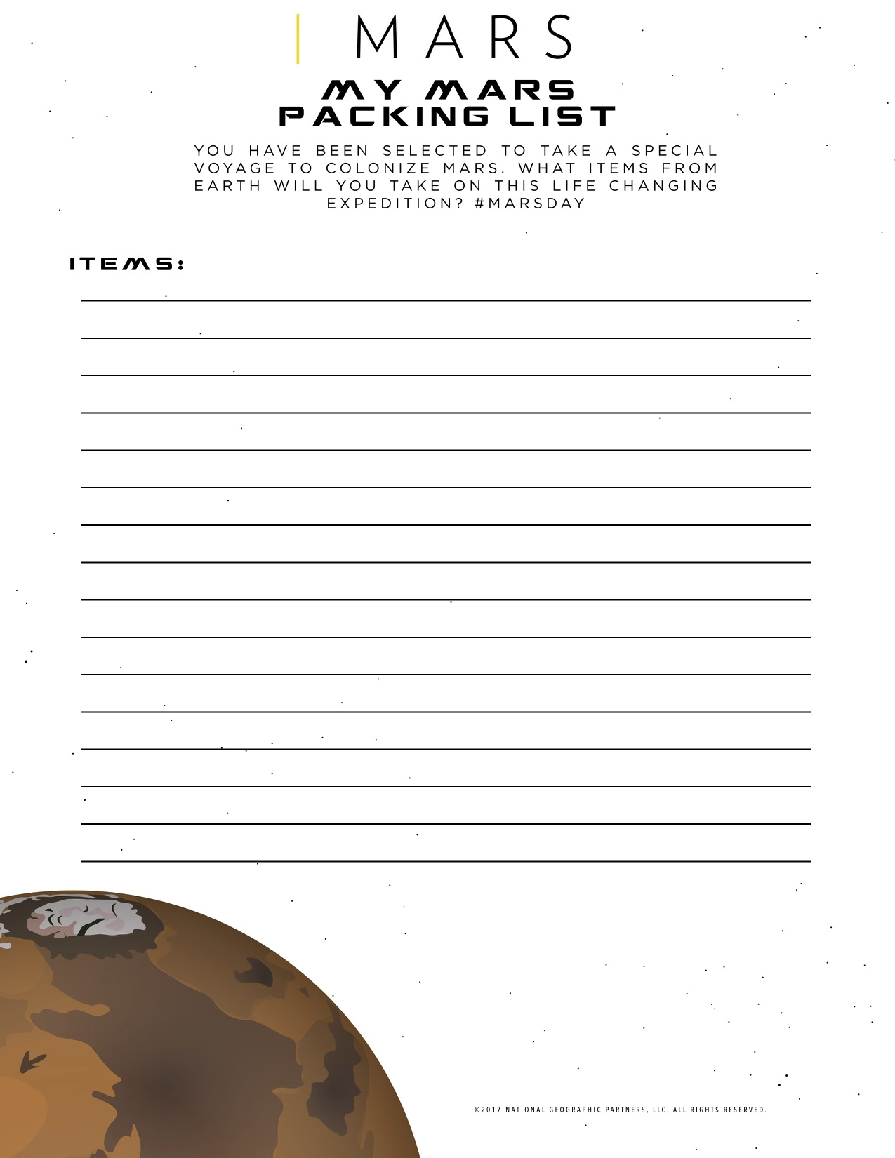 Mars Packing List