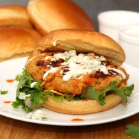 Buffalo Chicken Burgers with Blue Cheese & Ranch
