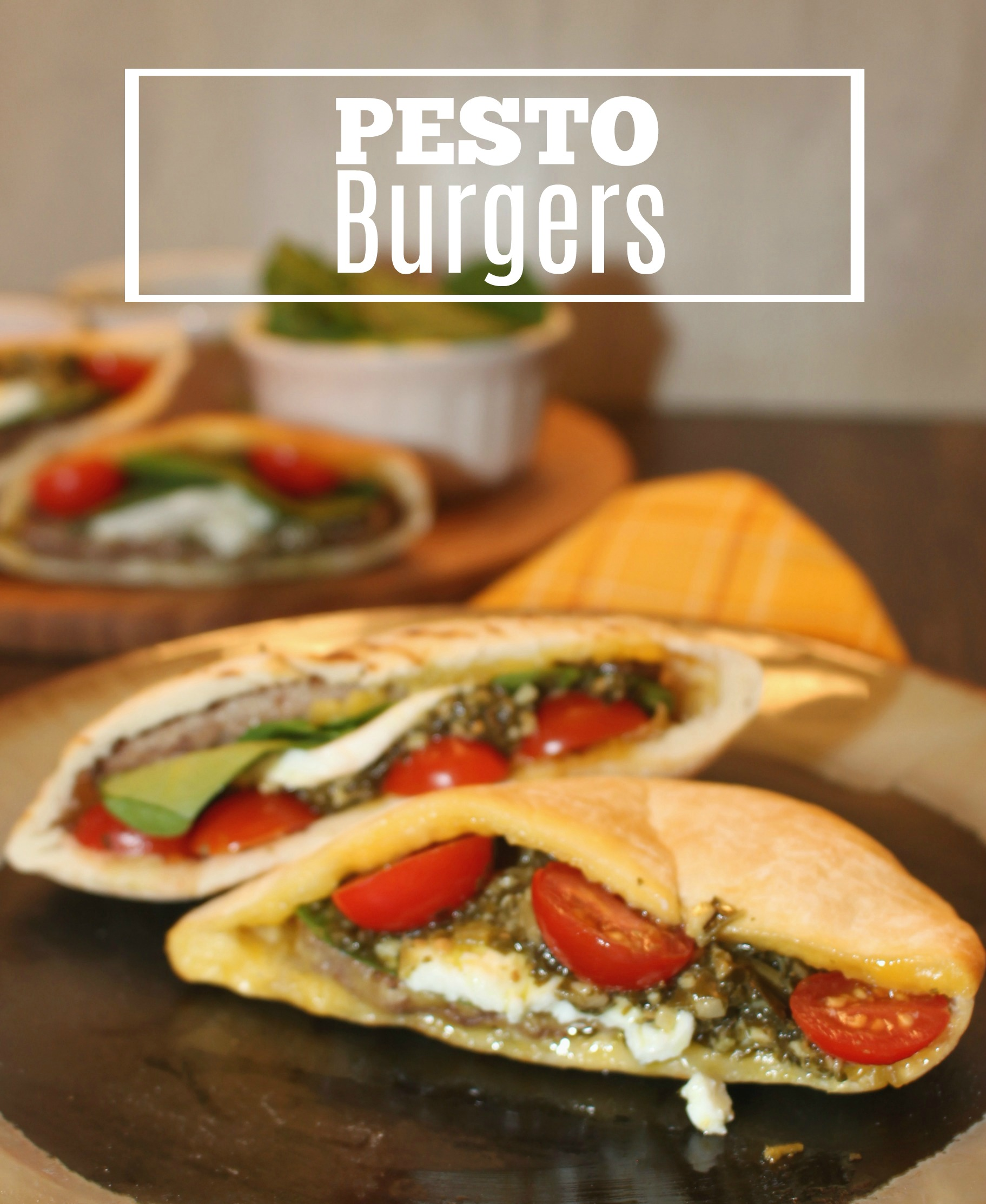 Easy Pesto Burgers with Sandwich Bros. of Wisconsin Angus Cheeseburgers