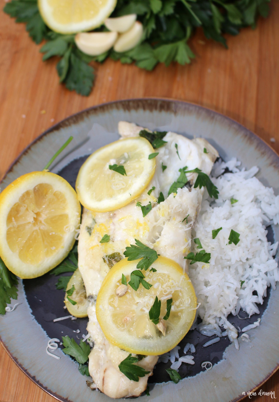 Lemon Garlic Butter Fluke Foil Packs