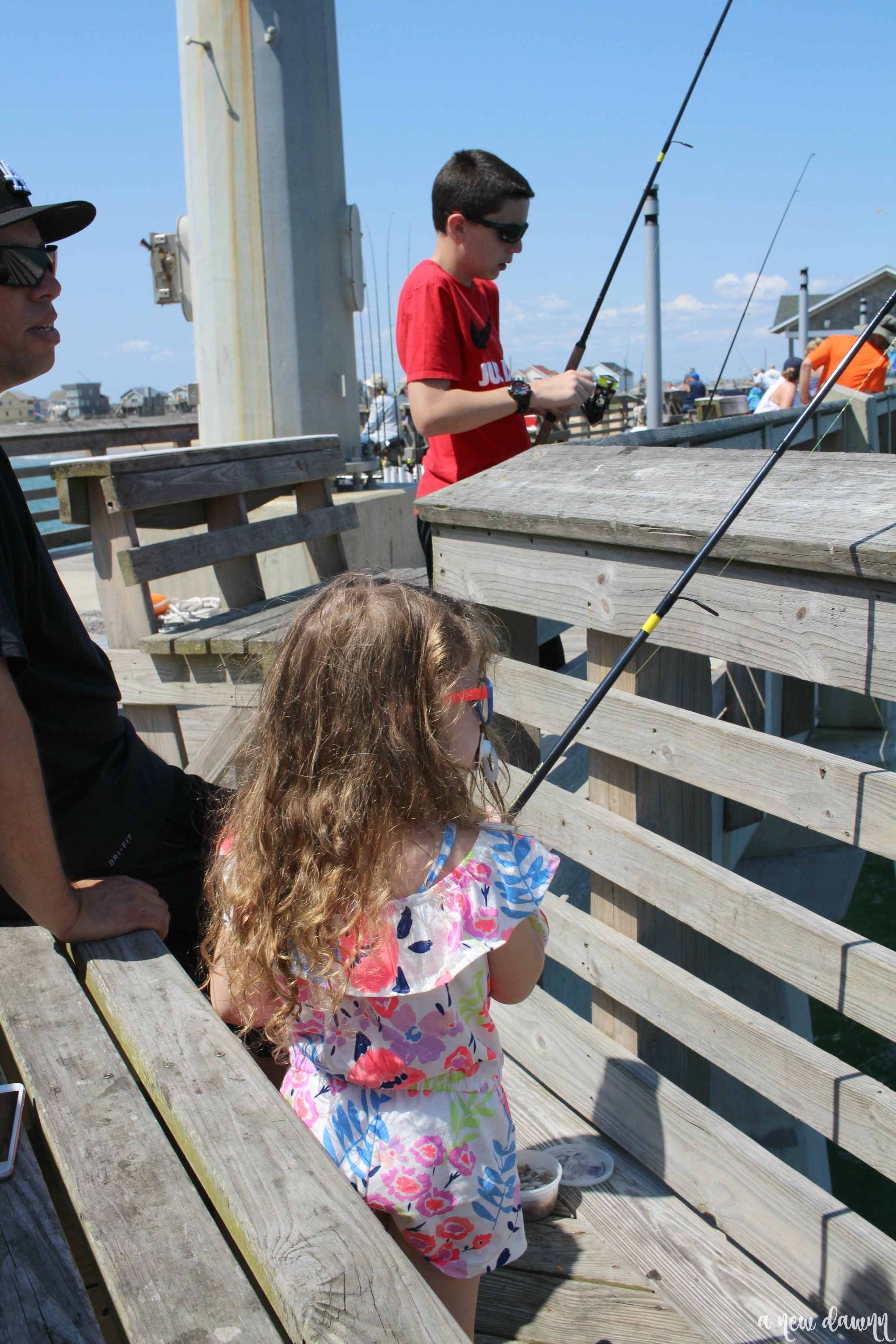 Toddler Fishing on Jennette's Pier in Nags Head, NC