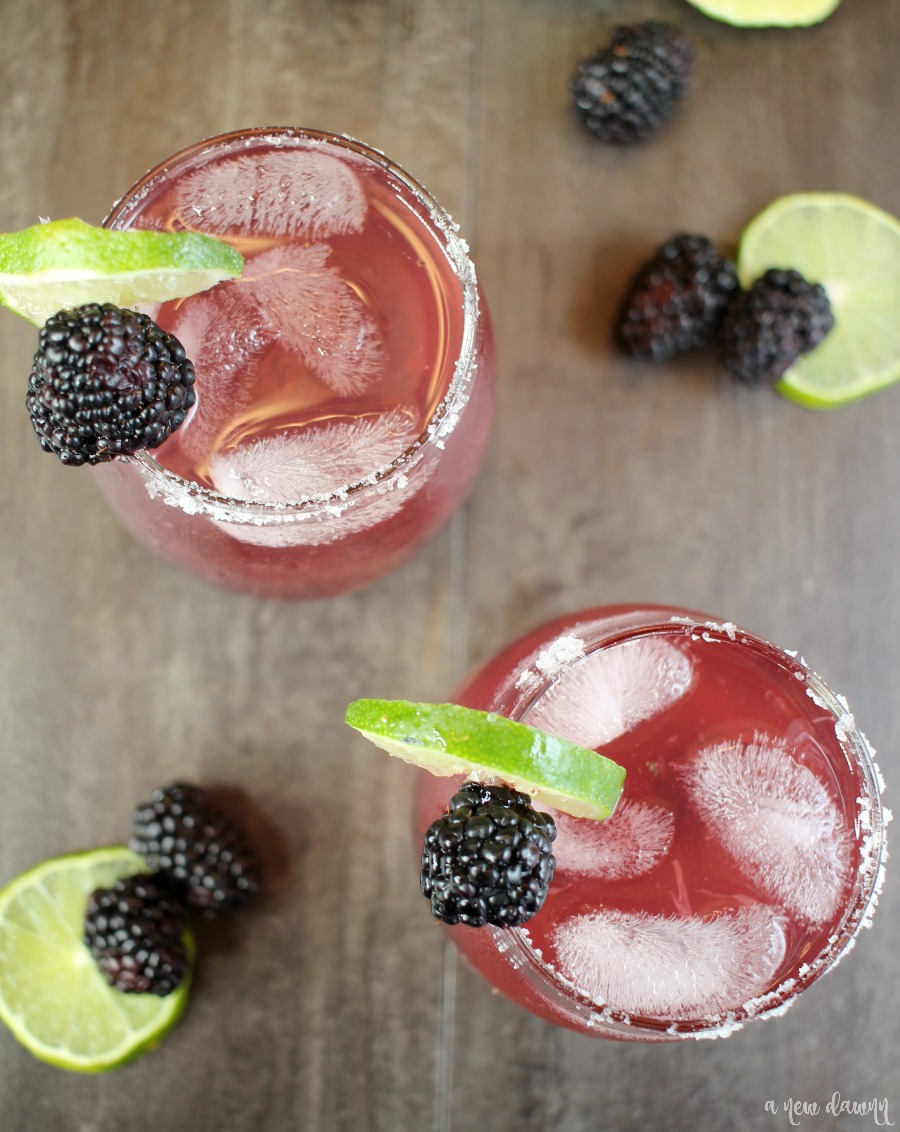 Top view of a glass of Sparkling Blackberry Lime Margarita