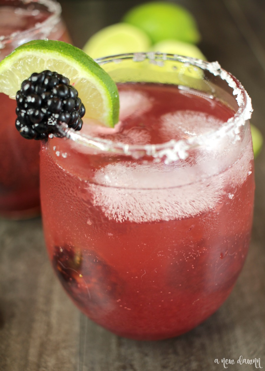 Close up of the Sparkling Blackberry Lime Margarita