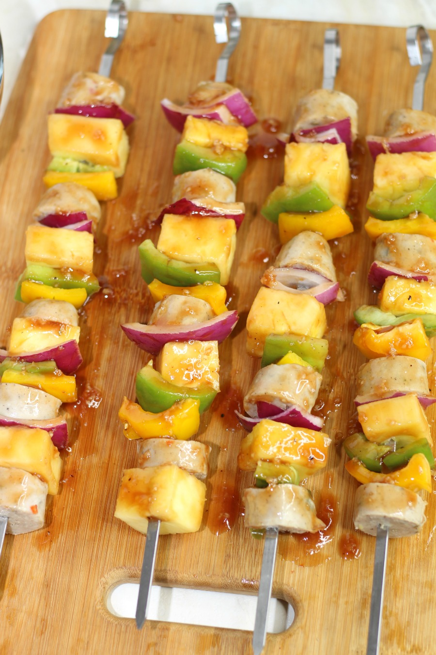 4 Grilled Hawaiian Chicken Sausage Kabobs