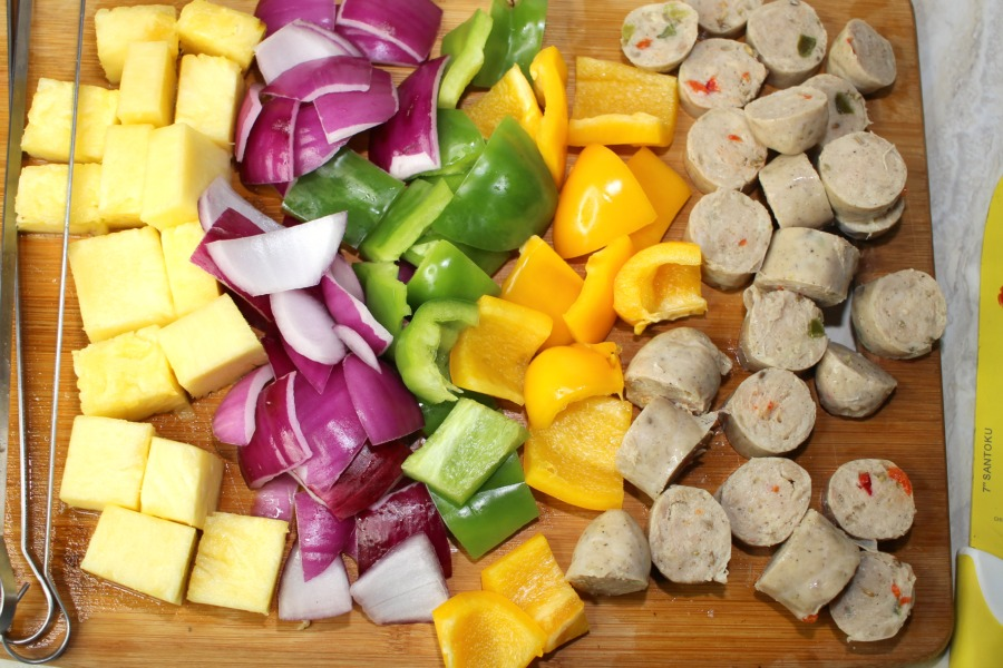 ingredients for Grilled Hawaiian Chicken Sausage Kabobs