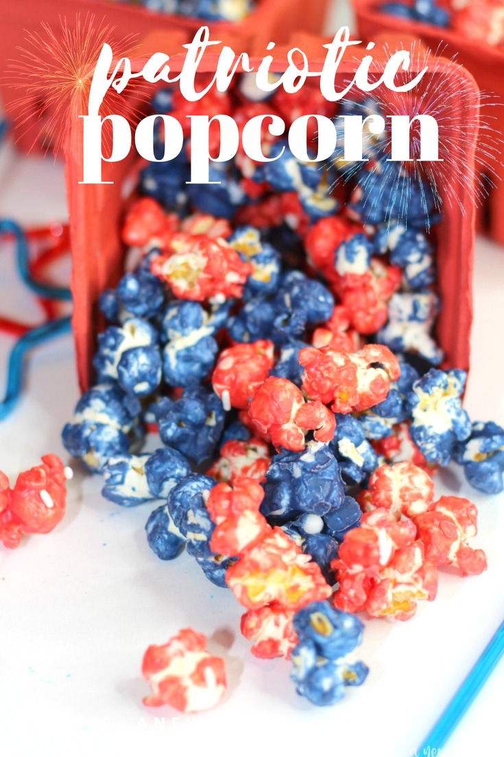 Red, white and blue candy coated popcorn