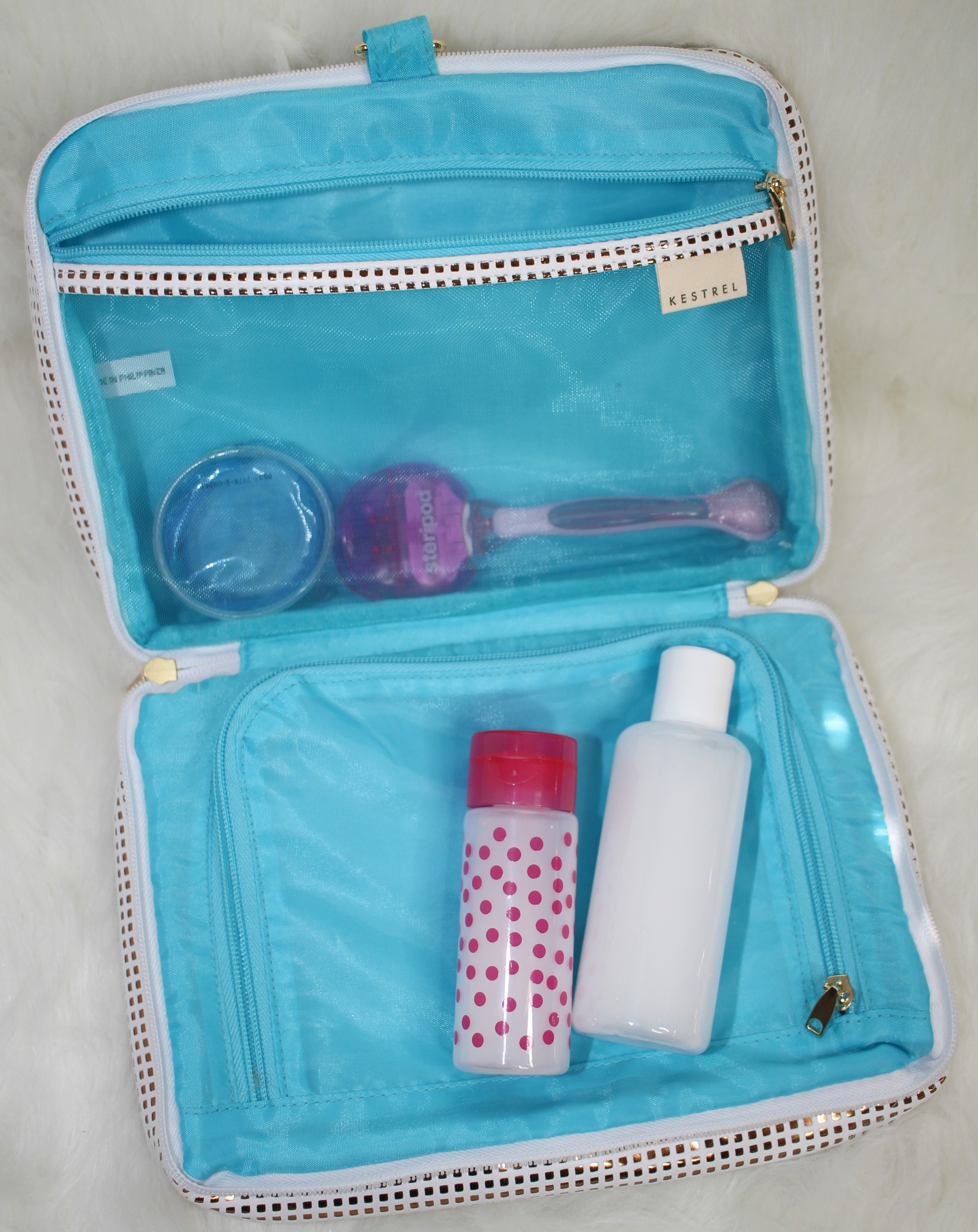 toiletry bag with bottles