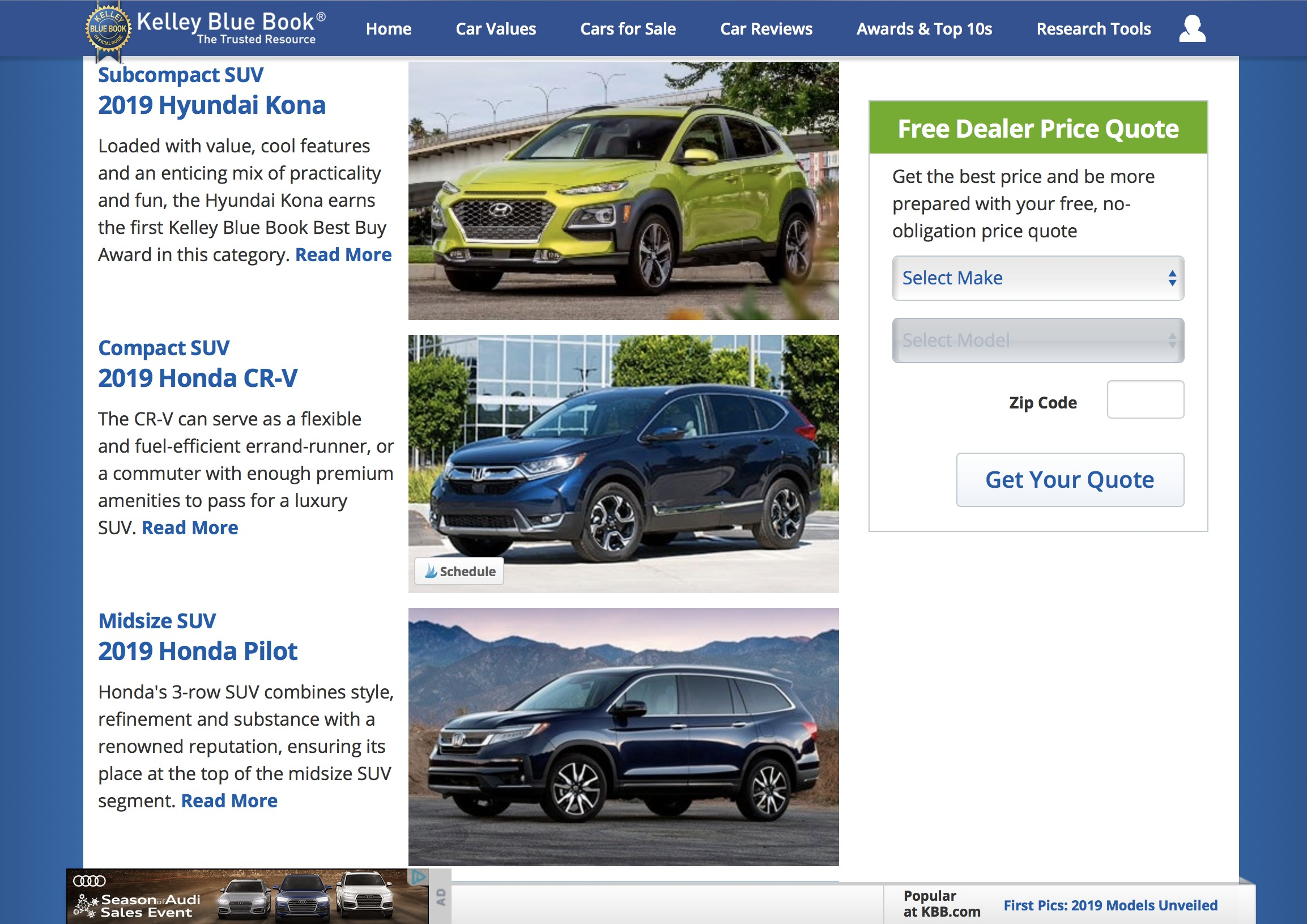 Kelley Blue Book Best Buy Awards