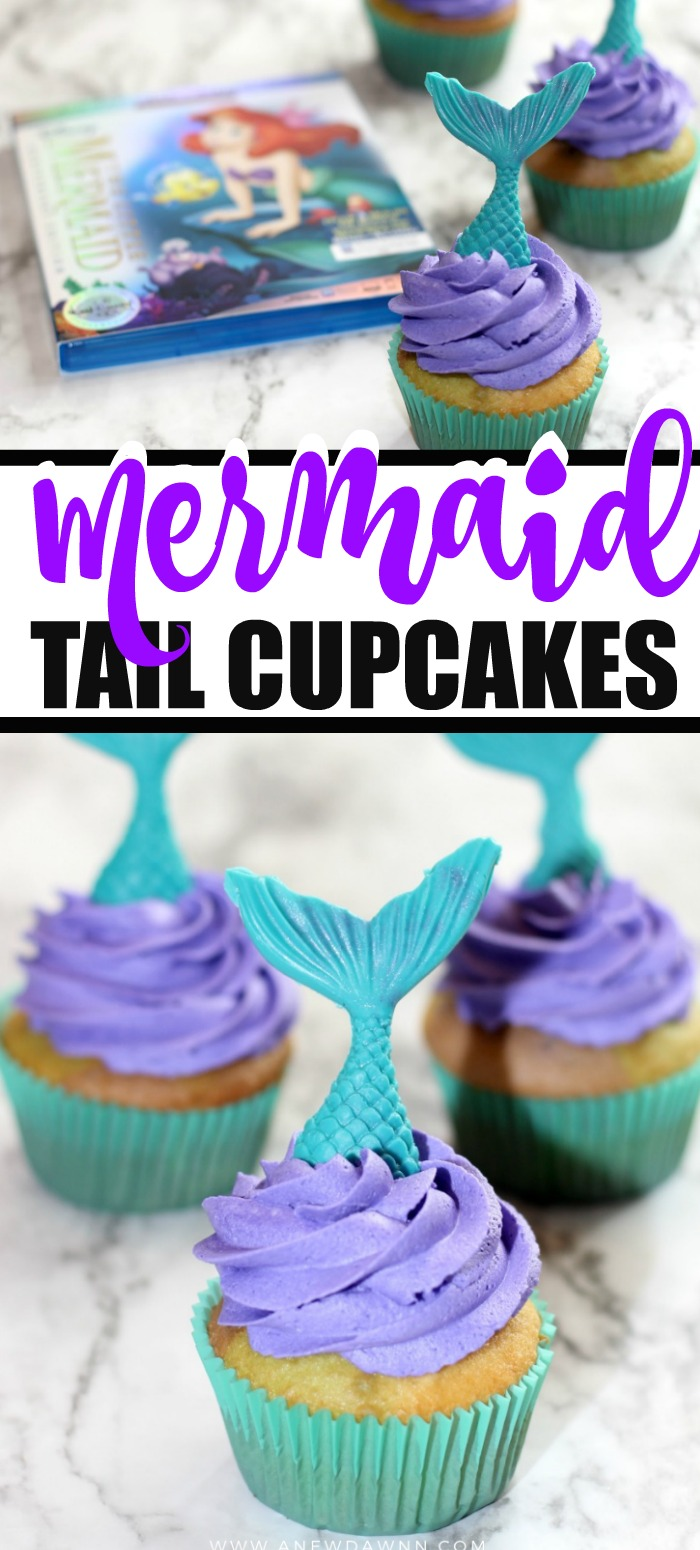 Celebrate the 30th anniversary of Disney's The Little Mermaid with these simple to make Mermaid Tail Cupcakes inspired by Ariel.