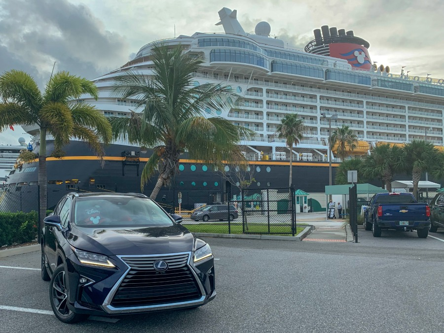 Lexus RX 450H in front of Disney Cruise Line