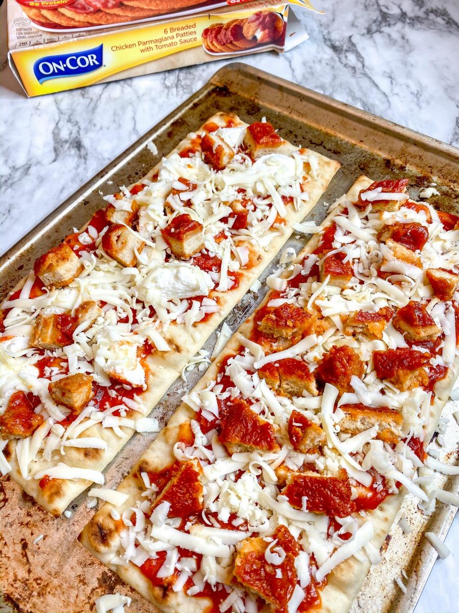 Chicken Parmesan Flatbread Pizza close up