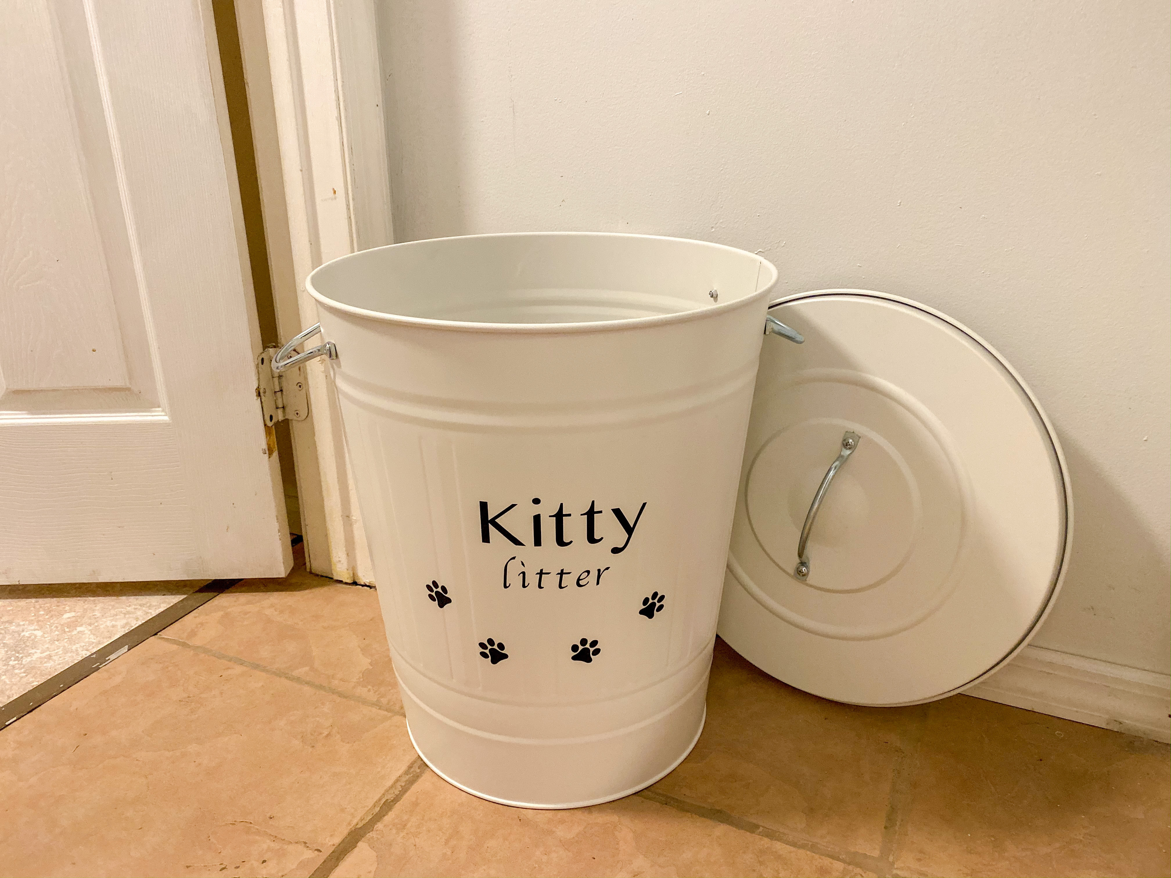 DIY Farmhouse Style Cat Litter Storage Container