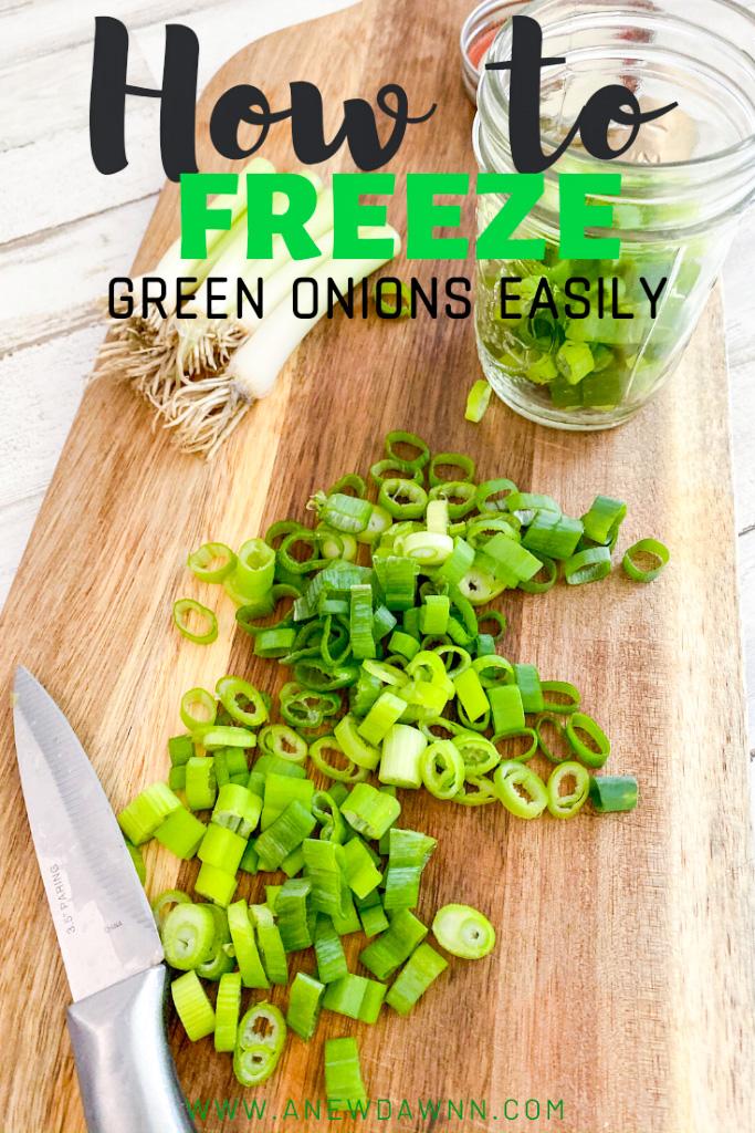 chopped green onions on cutting board