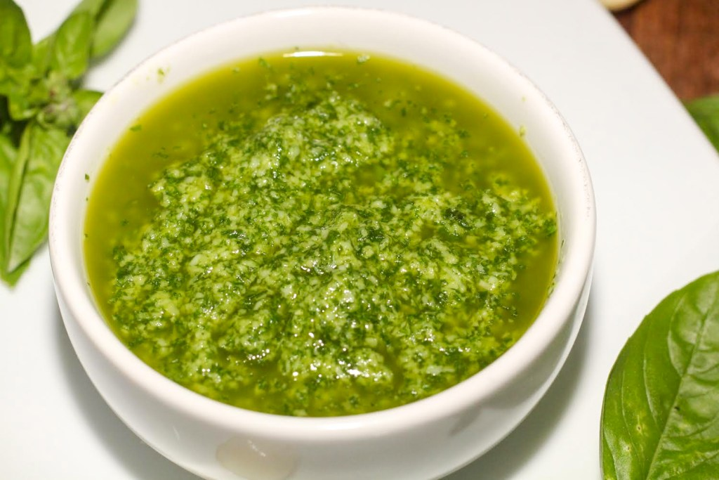The Best Homemade Nut Free Pesto Recipe in a white bowl