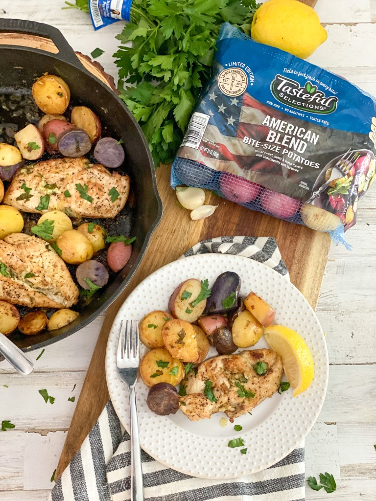 lemon chicken and potatoes with tasteful selections American blend potatoes