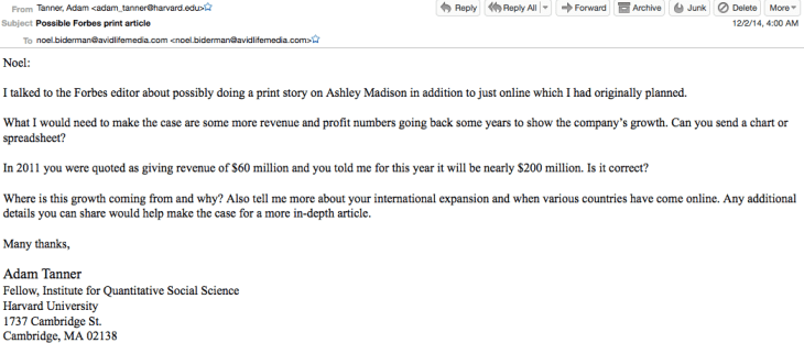 how ashley madison tricked forbes tanner