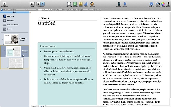 iBooks Author Create Chapter Sections Credit: David W. Martin