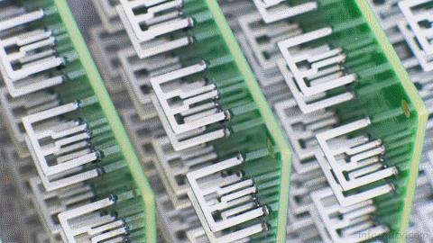Array of Aereo antennae on boards