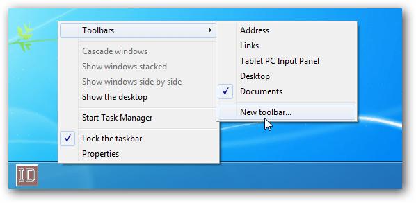 how to put toolbar back on windows 7