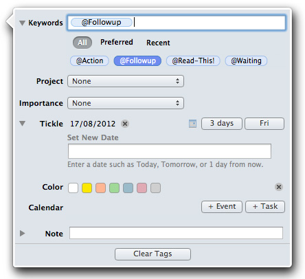 Compatible with Mountain Lion, MailTags offers complete task and project management
