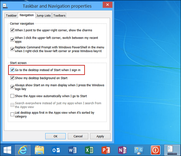 Windows 8.1 Taskbar and Navigation Properties