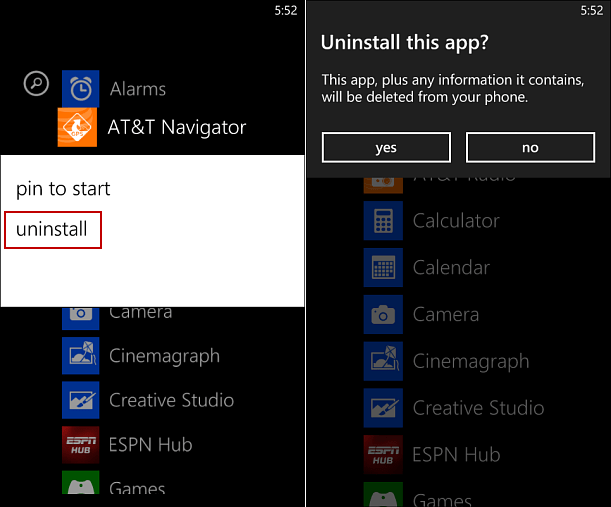 Uninstall Apps Windows Phone 8