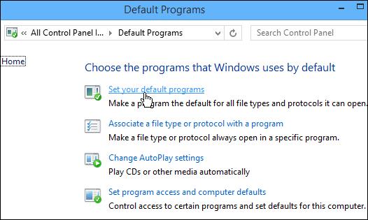 Windows Media Player Default Programs Setting