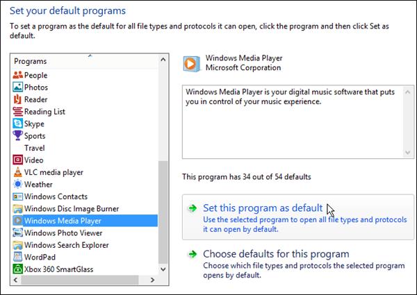 Windows Media Player Program Default