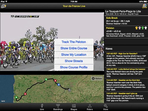 Tour de France NBC app bottom window option