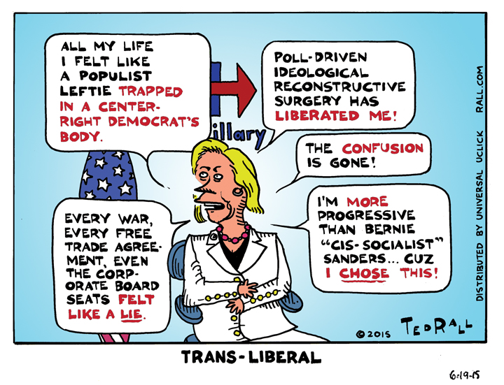Hillary Rodham Clinton: She's A Leftie Come Lately [cartoon]