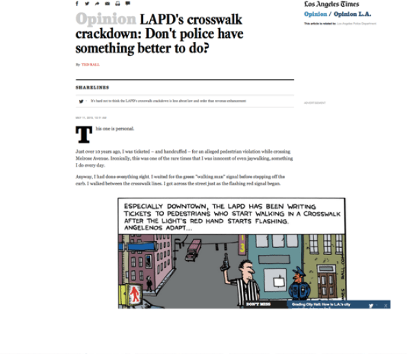 LA Times fires Ted Rall re LAPD criticism