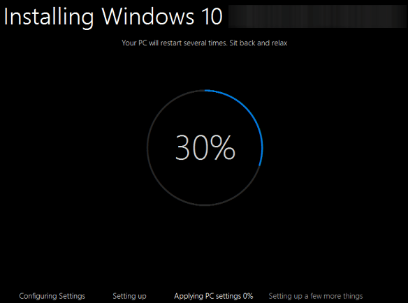 how to upgrade windows 7 to windows 10 first window 30 percent installed