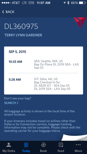 Delta Luggage tracking screenshot