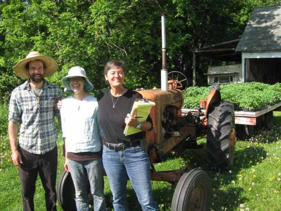 Karen Berglund with owners of Loon Organics farm